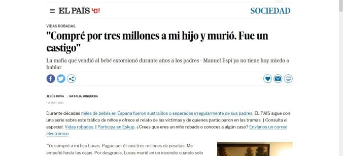 noticia El País recortada